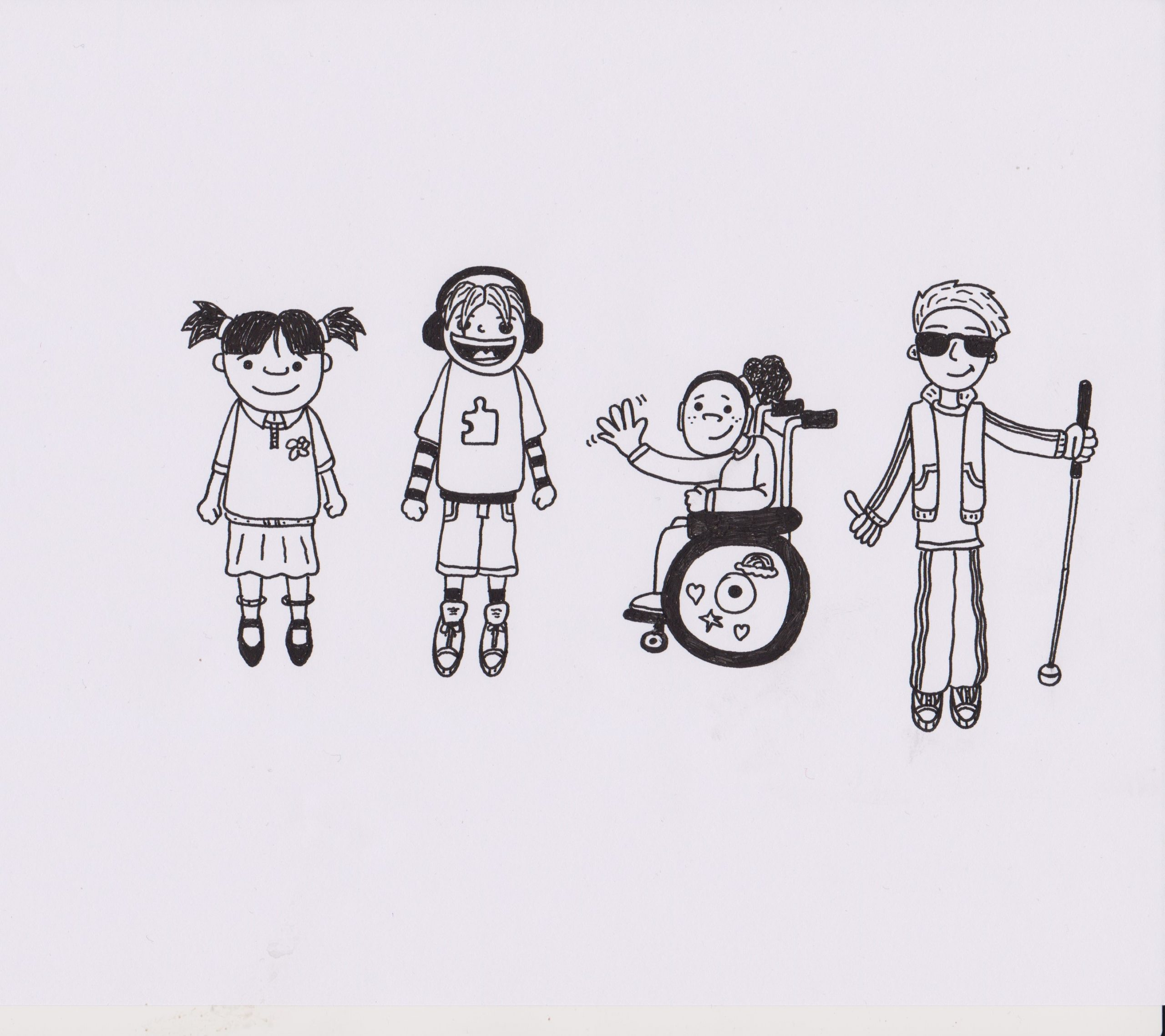 An illustration of 4 people. One is a young girl with dark hair, wearing pig tails and her school uniform. The second is a boy wearing headphones and sporty clothing, with a jigsaw puzzle piece on his top. The third is a girl sitting in a wheelchair and waving. Her wheelchair is decorated in rainbows, hearts and stars. The fourth person is a boy who is visually impaired, wearing glasses and holding a cane. He is holding his thumbs up and smiling.