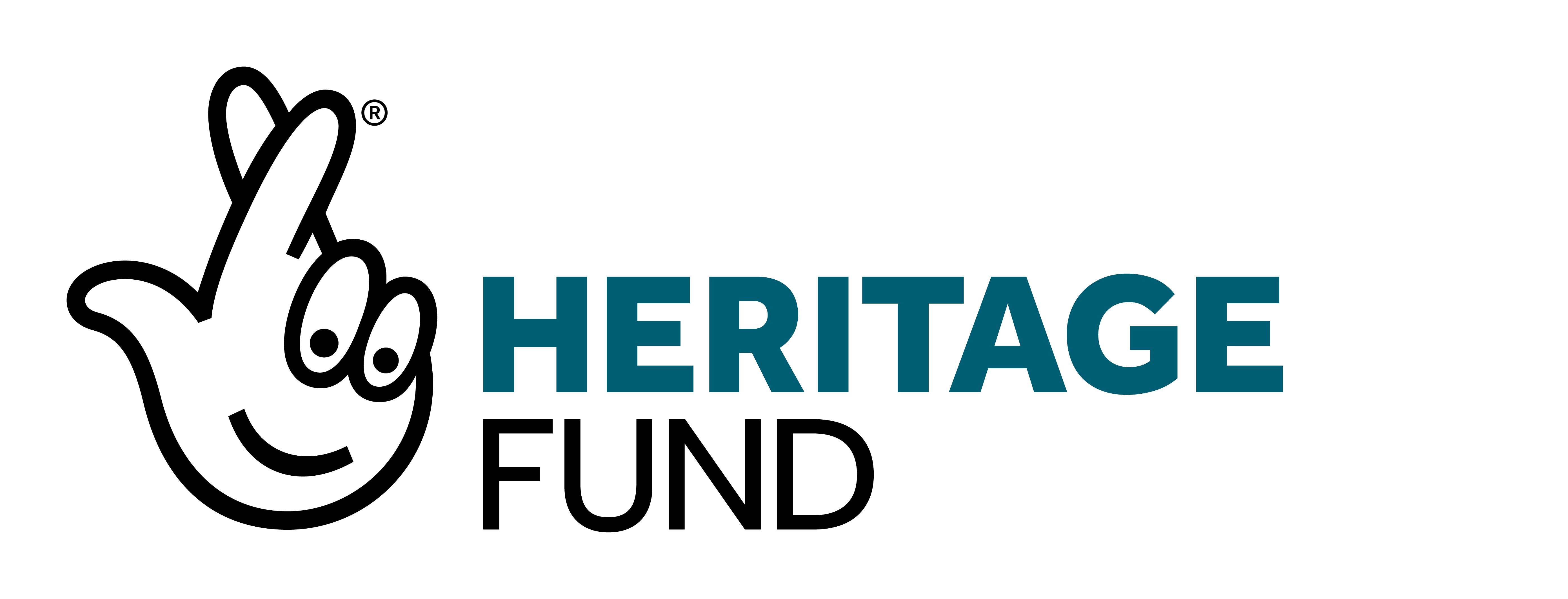 Heritage Fund logo with a white cartoon of a hand with fingers crossed, with eyes and a smiley face on the palm.